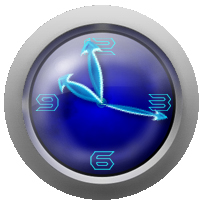 Silver Glass Analog Clock
