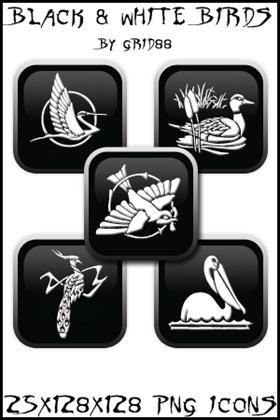 Black & white Bird icons