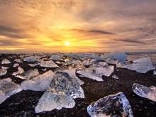 4K Ice Water Sunset