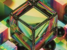 rainbow glass cube